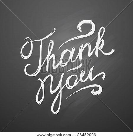 thank you, vector handwritten text on black chalkboard