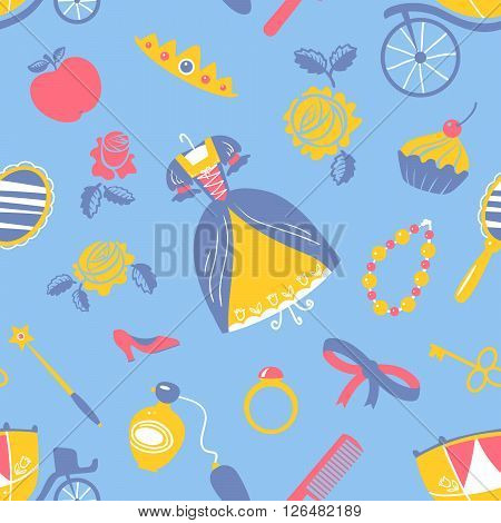 Cute Princess accessory vector seamless pattern with food