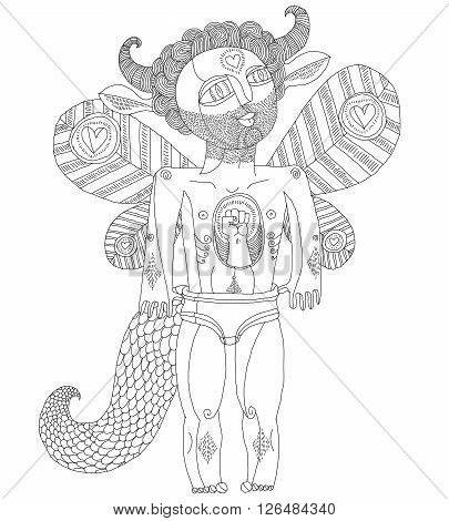 Vector Hand Drawn Graphic Illustration Of Bizarre Creature, Cartoon Nude Man With Wings, Animal Side