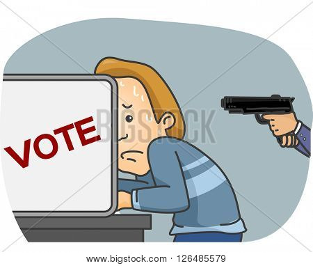 Illustration of a Man Being Forced to Vote for a Candidate at Gunpoint