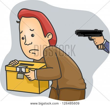 Illustration of a Man Carrying a Ballot Box Being Held at Gunpoint