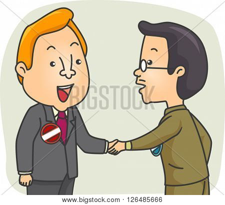Illustration of a Pair of Male Candidates Shaking Hands