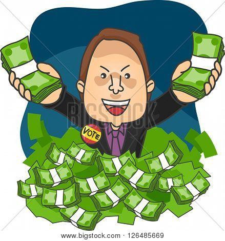 Illustration of a Political Candidate Drowning in Money
