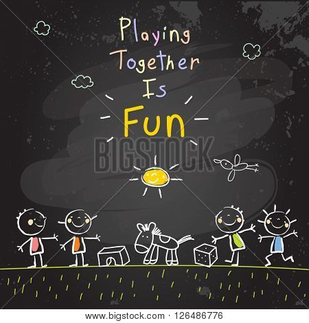 Children, group of kids, playing together outdoors with toys. Vector illustration, chalk on blackboard doodle, hand drawn sketch, scribble.