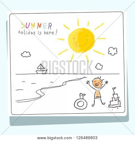 Summer vacation, holiday for kids at school vector illustration. Child tanning at sea. Sketch, doodle style.