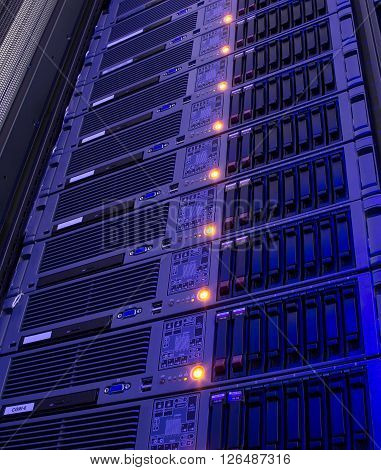 Modern storage of blade servers in  data center vertical poster