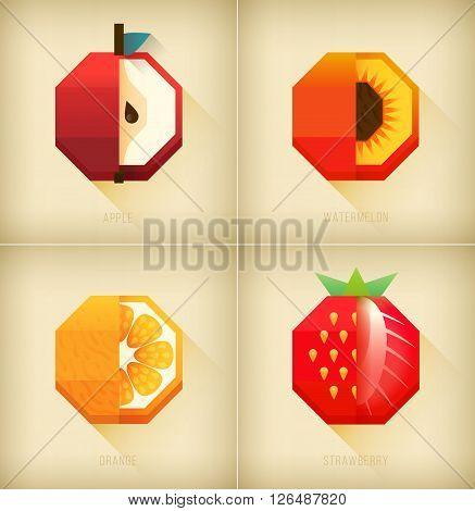 Apple peach and orange strawberry graphic element