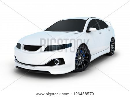 Sport car white and black (done in 3d)
