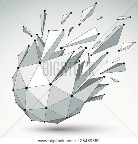 Vector Dimensional Wireframe Object, Spherical Demolished Shape With Refractions And Wreckage. 3D Me