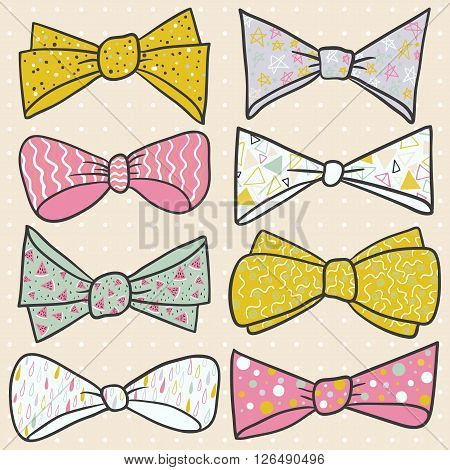 Illustration set of colorful bow tie in different colors. Pastel background with dots. Vector illustration.