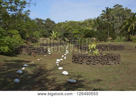 Footpath marked by white stones leading to the caldera of the extinct volcano Rano Kau within the UNESCO World Heritage Site of Rapa Nui National Park on Easter Island. poster