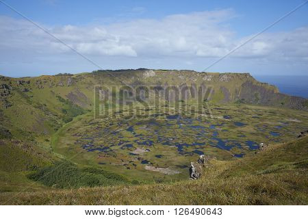 Caldera of the extinct volcano Rano Kau within the UNESCO World Heritage Site of Rapa Nui National Park on Easter Island. poster