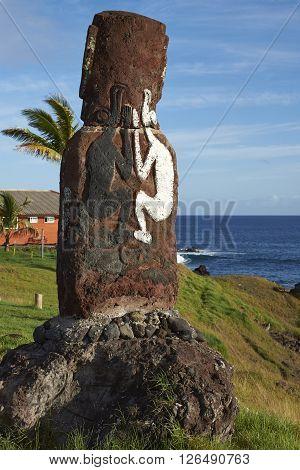 Lone moai statue on the coast of Rapa Nui (Easter Island) in the capital Hanga Roa.