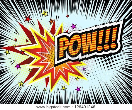 Pow! Vector Retro Comic Speech Bubble, Cartoon Comics Template. Mock-up of Comic Book Design Elements. Sound Effects, Colored Halftone Background