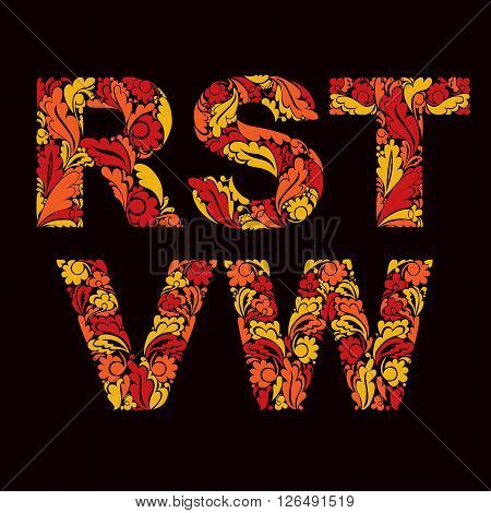 Stylish Script With Decorative Herbal Ornament. Beautiful Font With Floral Pattern, R, S, T, V, W. U