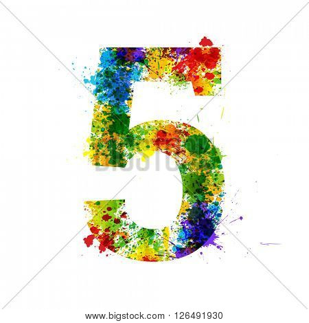 Color Paint Splashes. Gradient Vector Font Symbols. Watercolor Paint Splash Designer Decoration Alphabet. Color ink Number Symbols Isolated on a White Background. Paint Splash Number 5