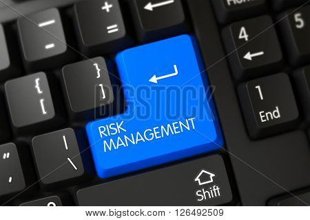 Risk Management on PC Keyboard Background. Selected Focus on Blue Enter Key. 3D Illustration.