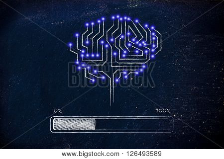 Electronic Circuit Brain With Progress Bar Loading