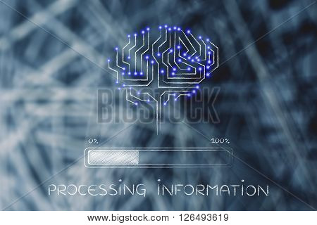 Circuit Brain With Progress Bar Loading, Processing Information