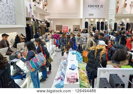 NEW YORK - MARCH 19, 2016: inside of Forever 21 in New-York. Forever 21 is an American chain of fast fashion retailers with its headquarters in Los Angeles.