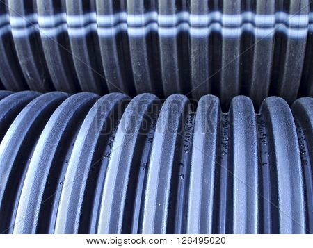 Ribbed black sewage pipes, corrugated sewage pipes