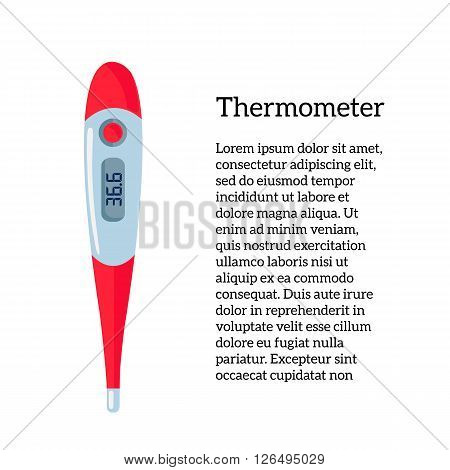 Image Medical thermometer vector illustration colored thermometer for measuring human body, medical equipment, object on a white background