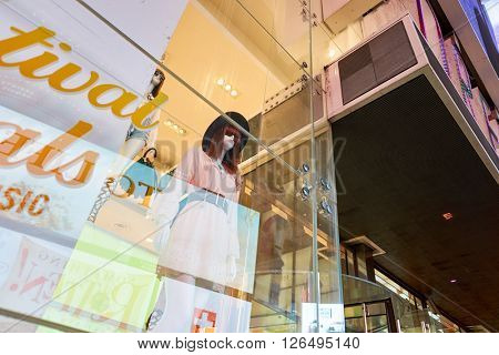 NEW YORK - MARCH 19, 2016: shopwindow of Forever 21 in New-York. Forever 21 is an American chain of fast fashion retailers with its headquarters in Los Angeles.