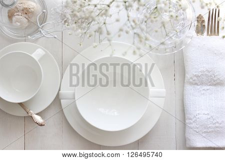 Table mockup menu mockup. Wedding fashion photography. Wedding invitation. Place card reserved card. White beautiful dishware. Trendy white colors stylish photo.