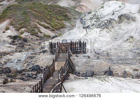 Jigokudani hell valley walking trail in Noboribetsu Hokkaido Japan
