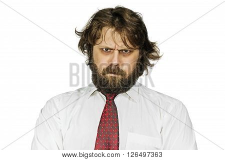 Evil shaggy bearded man looking sternly. Isolated on white background