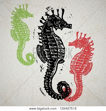 Vector Sea Horses in abstract composition. Linocut Sea Horses in different colours on old paper