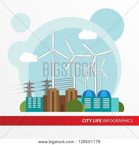 Wind power station. Colorful illustration in a flat style. City infographics set. All types of power stations. System with transmission tower, wind turbines  and generator