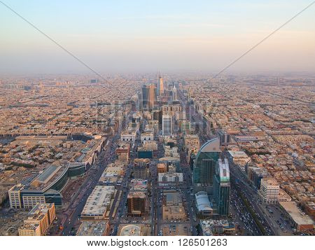 RIYADH - FEBRUARY 29: Sunset over Riyadh downtown on February 29, 2016 in Riyadh, Saudi Arabia.