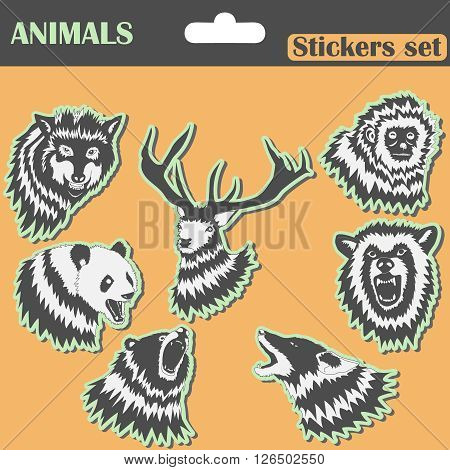 Animals Stickers set - wolf, bear, panda, deer - vector illustration