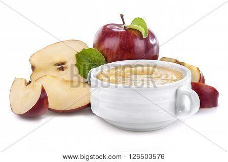 Apple puree of fresh organic apple on a white background