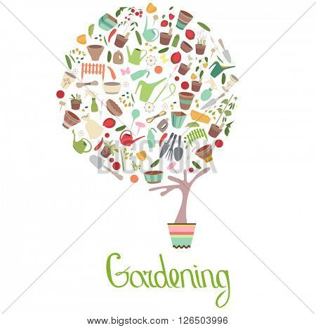 Stylized tree in cute flower pot. Topiary with gardening tools. Text Gardening.