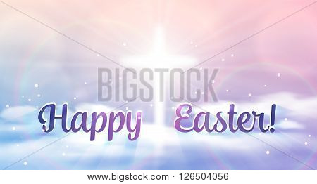 Easter banner with text 'Happy Easter', shining across and heaven with white clouds. Vector illustration background.