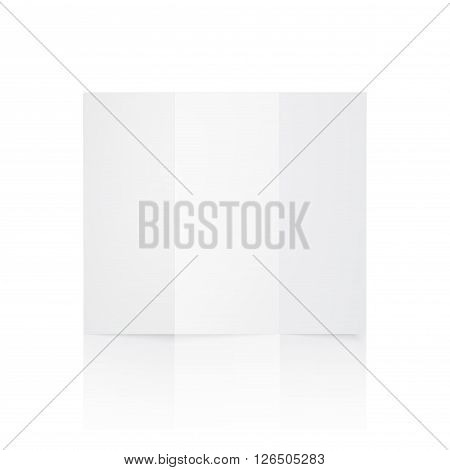 White blank paper brochure. Trifold paper isolated on white background. Vector illustration. EPS 10.