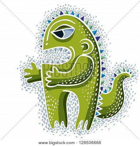 Vector Cute Halloween Character Ogre, Fictitious Creature. Cool Illustration Of Freak Green Monster.