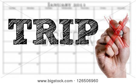 Hand writing the text: Trip
