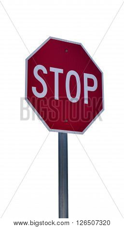Isolated stop sign without street names with white background