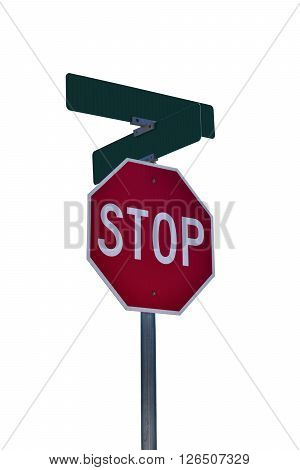 Stop sign with space for street names in corner.