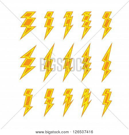 Set of lightning doodle isolated on white background, vector illustration