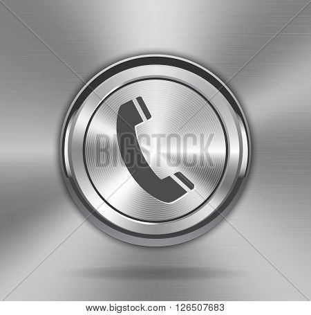 Metallic phone sign on shiny web element. Technology circle button phone sign with metal texture (chrome steel silver) realistic shadow and light background for user interfaces (UI) applications (apps) and business presentations. Vector illustration