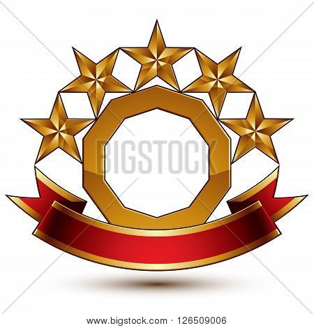 Majestic Vector Golden Ring Isolated On White Background, 3D Polished Five Golden Stars. Heraldic Br
