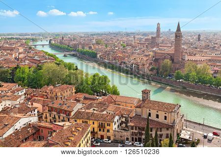 Aerial view on Verona and Adige river on sunny day Italy
