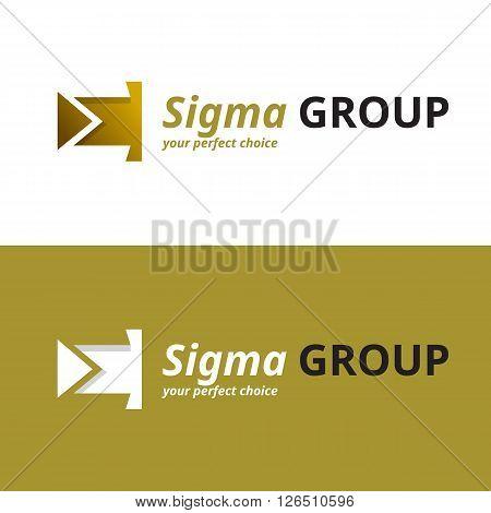 Vector minimalistic negative space greek letter logo. Sigma letter symbol poster