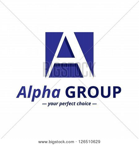 Vector minimalistic negative space greek letter logo. Alpha letter symbol