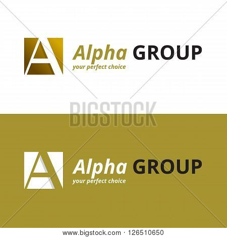 Vector minimalistic negative space greek letter logo. Alpha letter symbol