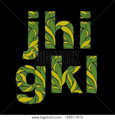 Beautiful Font With Herbal Ornament. Green Capital Letters Decorated With Spring Floral Pattern. G,